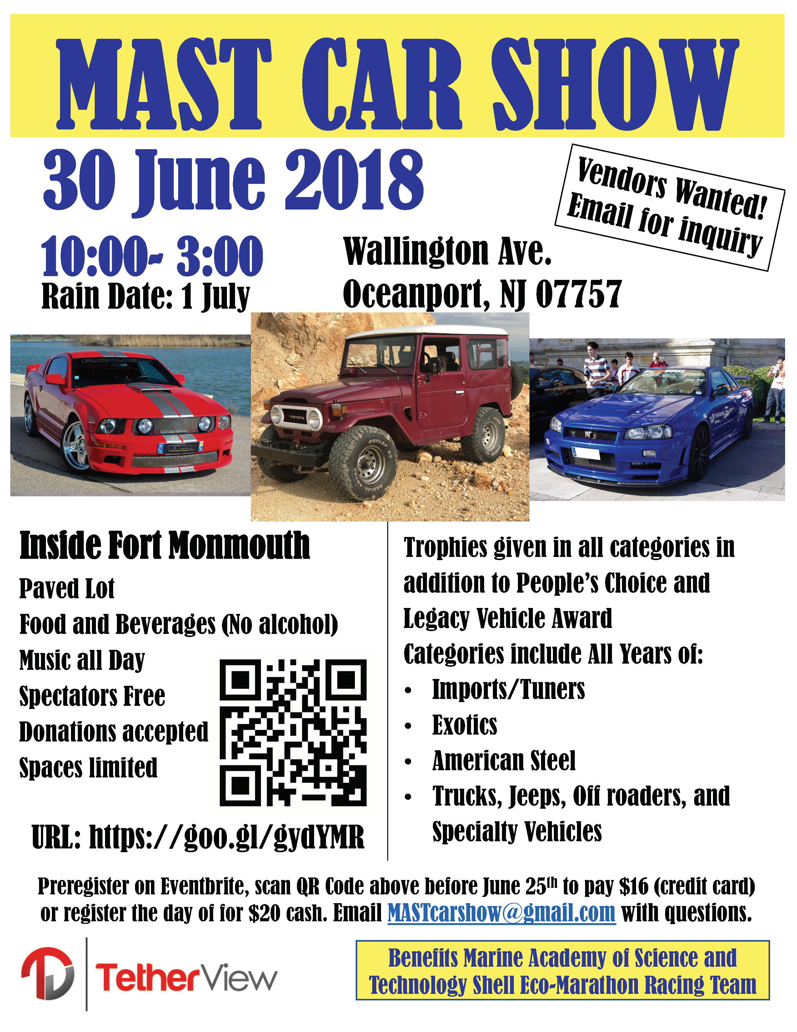 MAST Car Show Flyer Fort Monmouth - Car show trophy categories